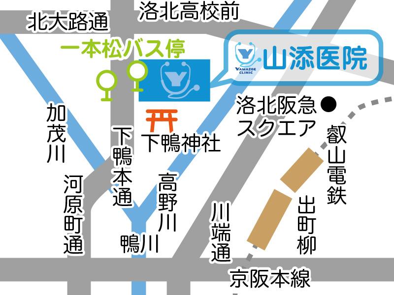 山添医院前の一本松バス停MAP